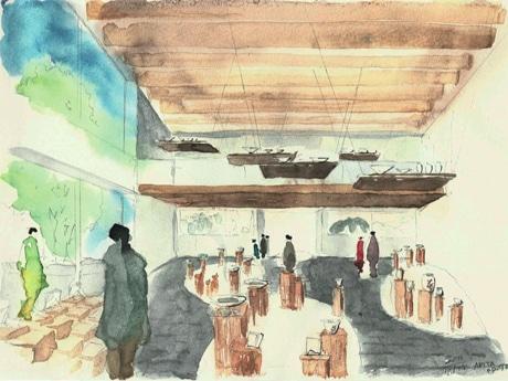 泉山磁石場から運ぶ陶石を敷き詰める会場のイメージ