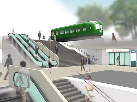 8番出入り口に新設される地下1階~地上をつなぐエスカレーターのイメージ(提供:東急電鉄)