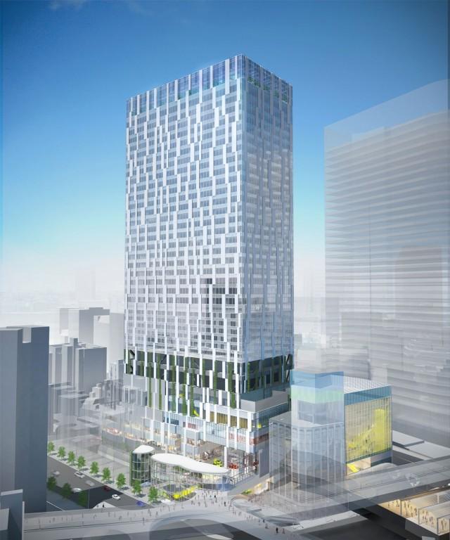 北西から望む「渋谷ストリーム」の外観イメージ(画像提供=東急電鉄)