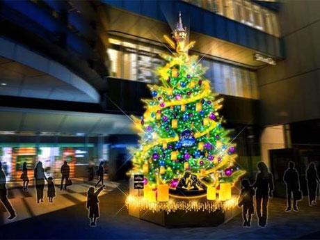 「塔の上のラプンツェル」をテーマにする渋谷ヒカリエのツリーのイメージ©Disney