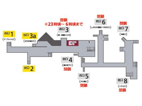 閉鎖する出入り口(地下1階の地図)