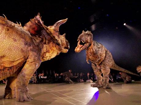 一触即発な雰囲気の(手前から)トリケラトプスとティラノサウルス