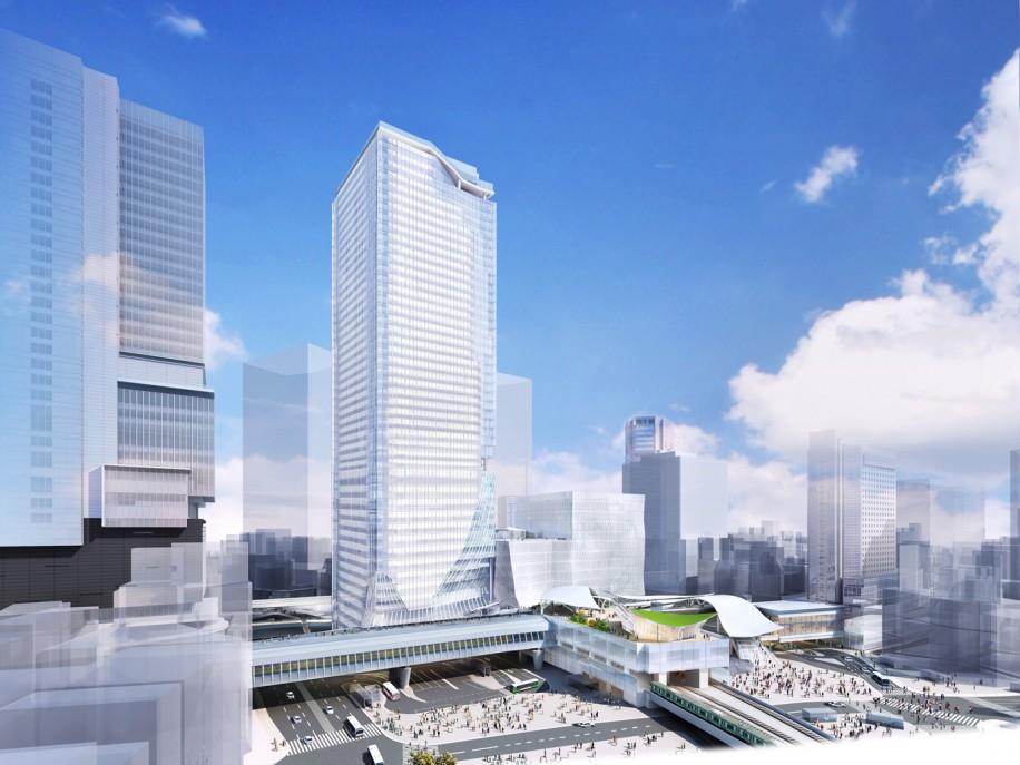 渋谷駅街区開発計画の全体完成イメージ(宮益坂下交差点方面より望む)