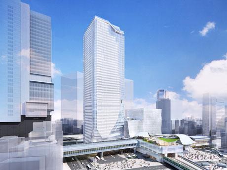 ミクシィが移転を予定する「渋谷スクランブルスクエア」東棟(中央)