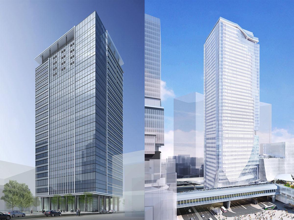 住友不動産が建築中の「Abema Towers」(左)と東急東横線旧渋谷駅跡に建設中の高層ビル「渋谷スクランブルスクエア」(右)