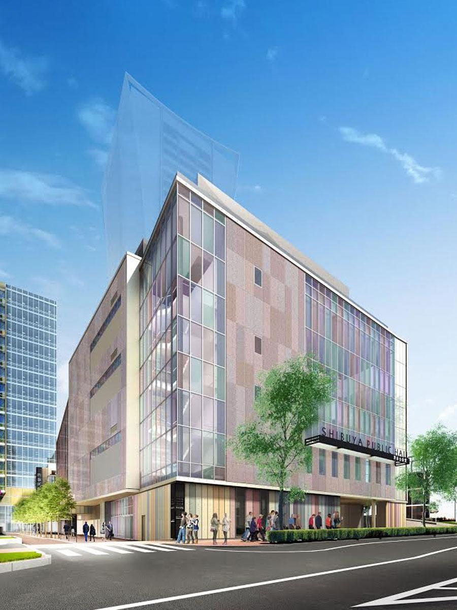 公園通り側からの新しい「渋谷公会堂」外観イメージ