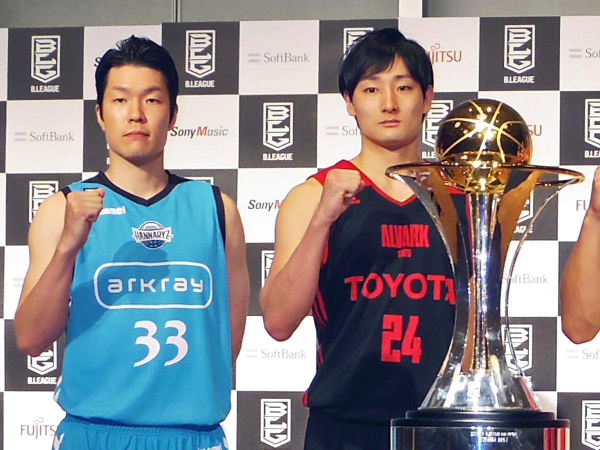 アルバルク東京の田中大貴選手(右)と初戦対戦する京都の内海慎吾選手