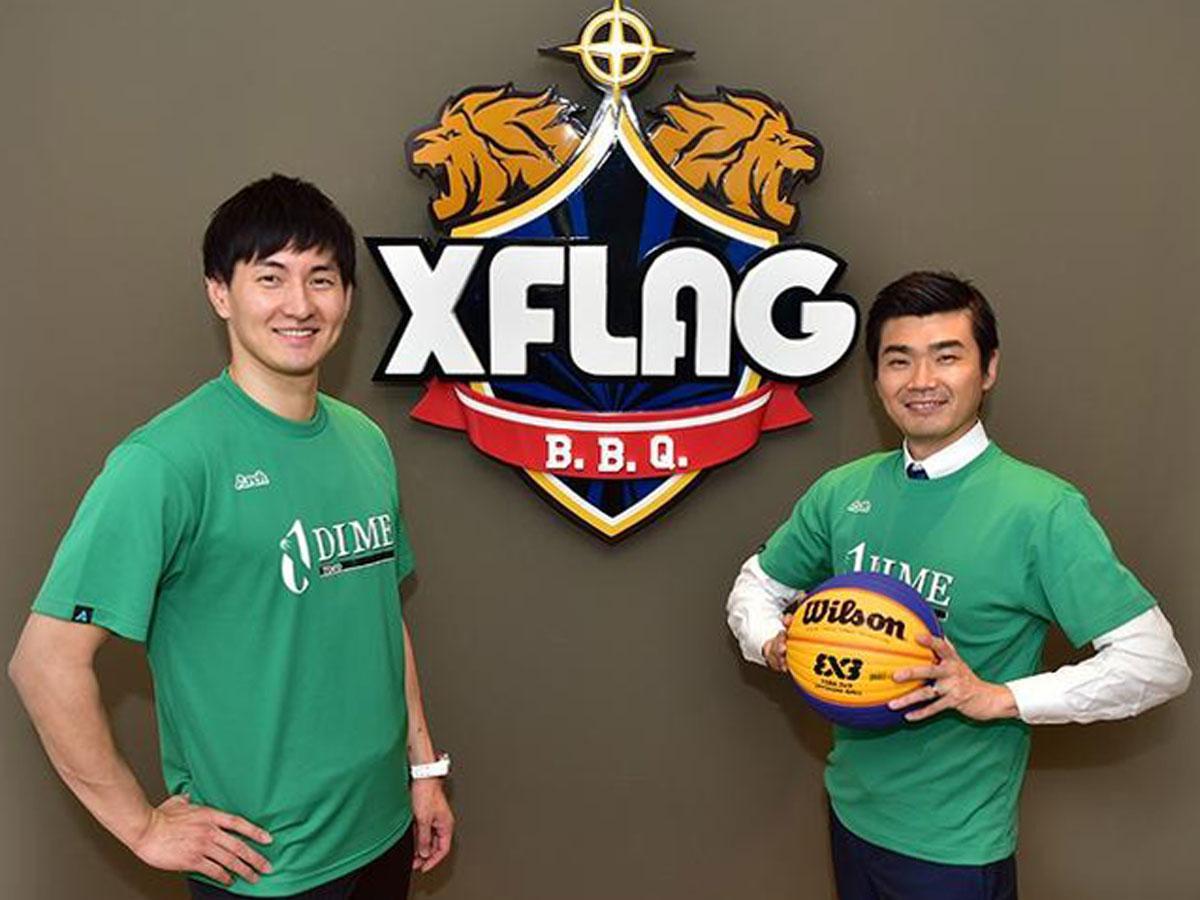(写真左から)TOKYO DIMEのオーナー兼選手の岡田優介さんとミクシィ執行役員でスポーツ領域担当の木村こうきさん