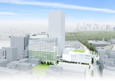 渋谷区庁舎一帯の建て替え後のイメージ(画像提供:渋谷区)。マンションは中央後方の高層ビル