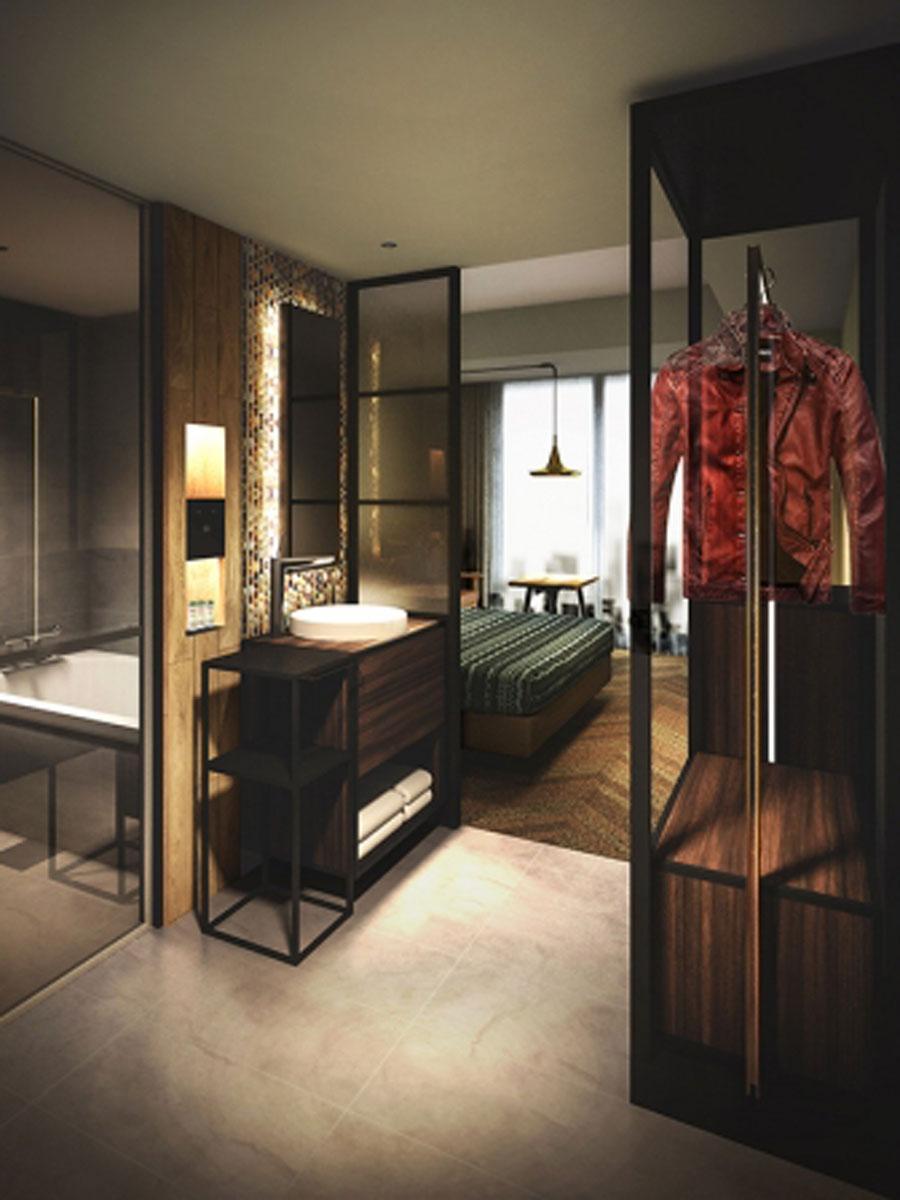 アパレルショップをイメージしたワードローブ「ファッションクローク」を備える客室内イメージ