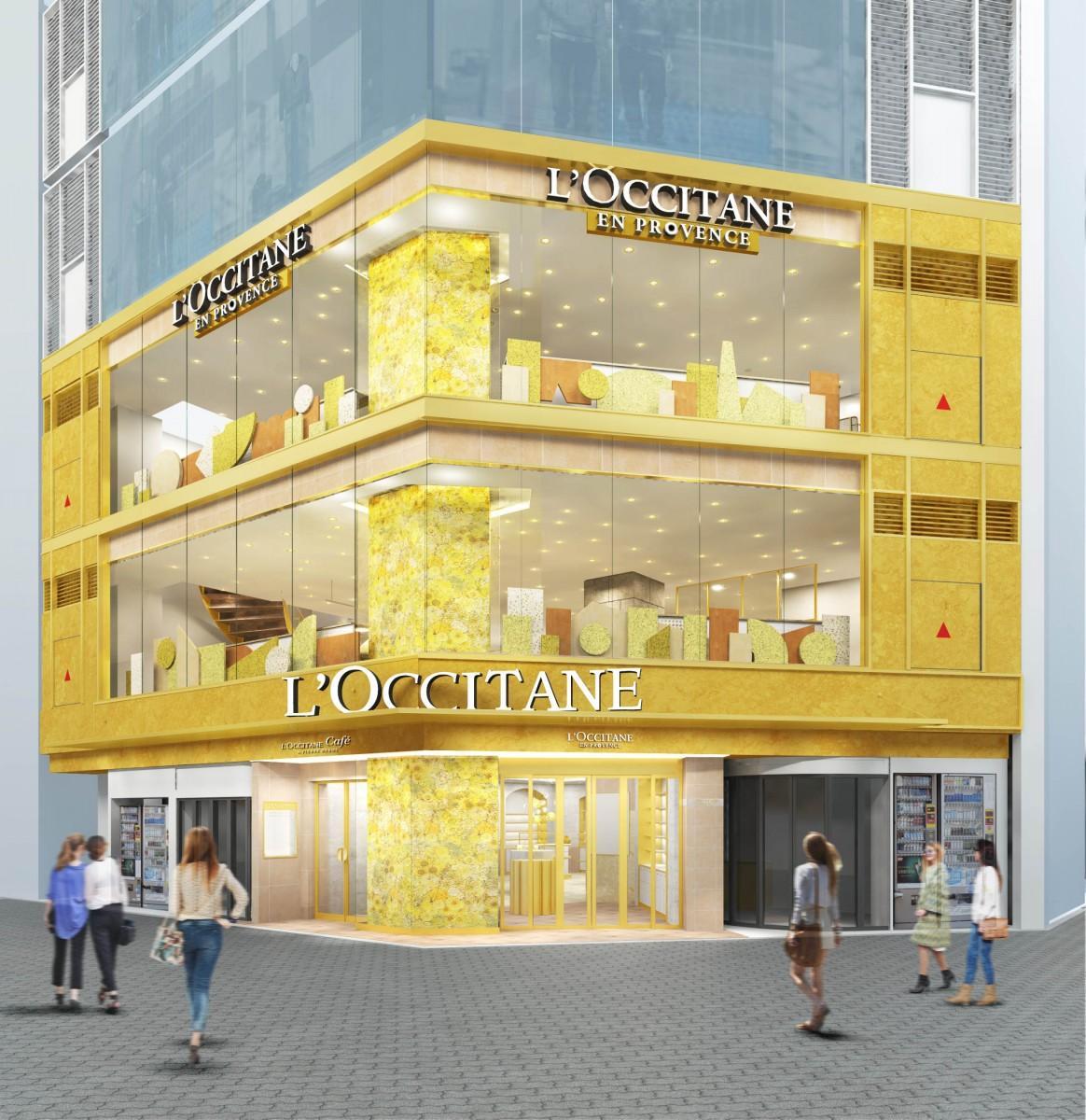 黄金色の花「イモーテル」のモチーフをあしらい、「プロヴァンスから届いた大きなブーケのような」店舗デザインを採用