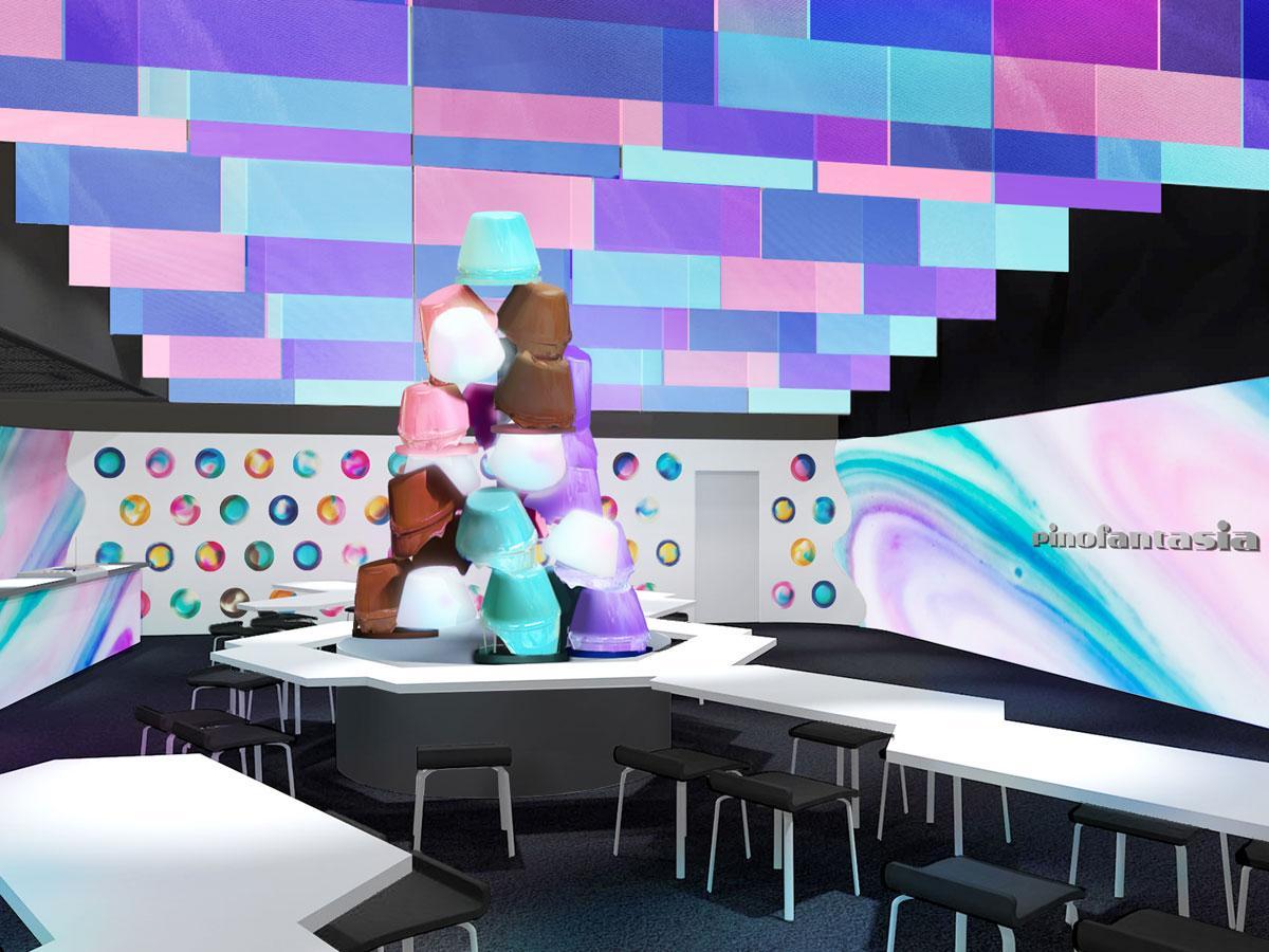 高さ3メートルの「ピノチョコファウンテン」を飾る場内(イロ)のイメージ
