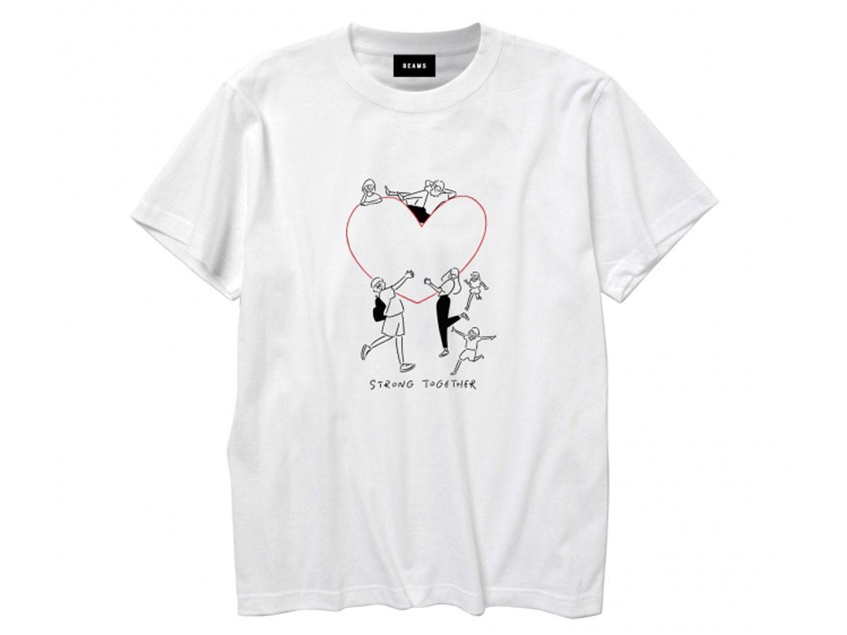 イラストレーター馬場雄さんのイラストと「STRONG TOGETHER」の文字をプリントするTシャツ