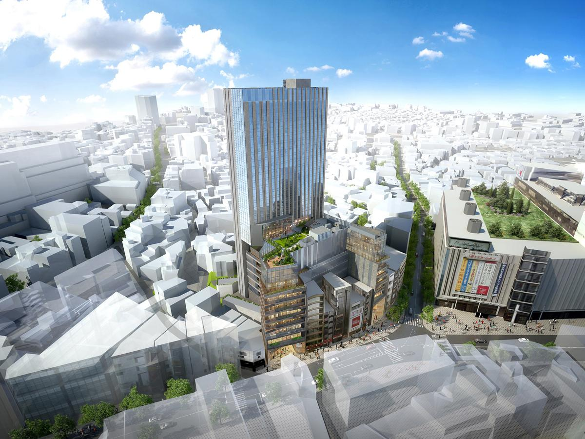 ドンキホーテHDが開発に乗り出す「(仮称)渋谷区道玄坂二丁目開発計画」建物イメージ
