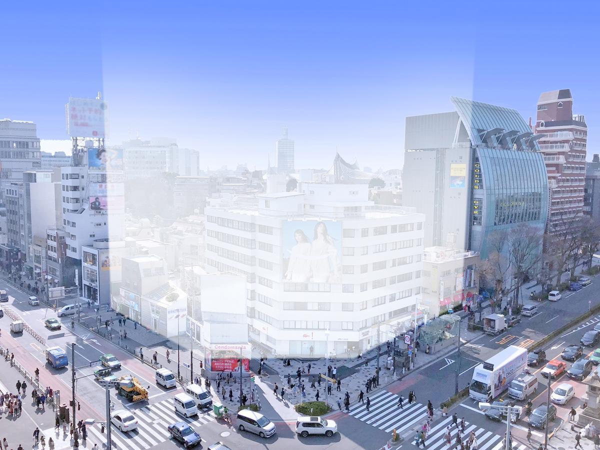 神宮前交差点の一角にあるビル「オリンピアアネックス」を含むエリア一帯の再開発イメージ