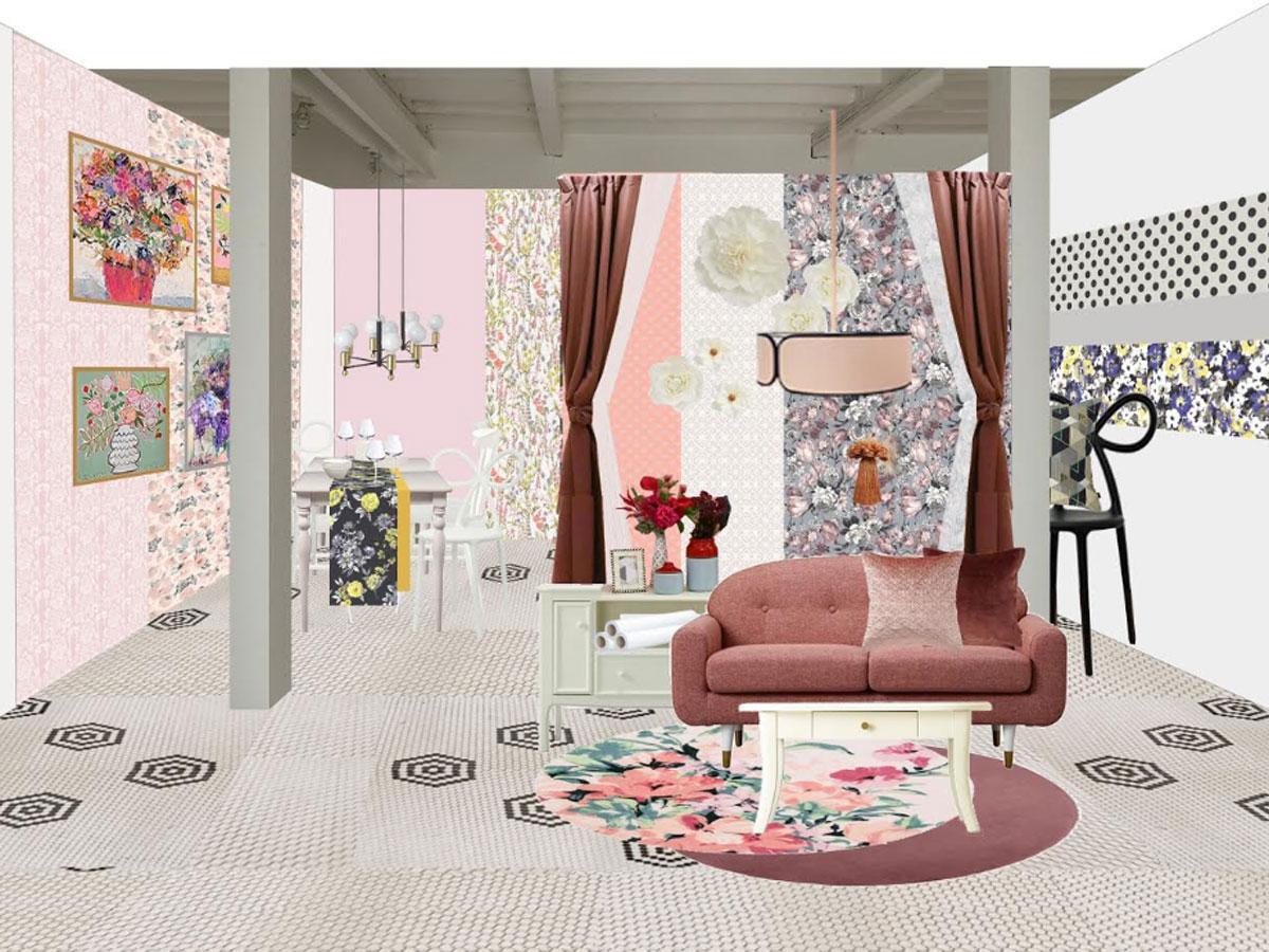 貼って?がせるウオールペーパーなど「ROOM COSME」のアイテムで装飾する1階のイメージ