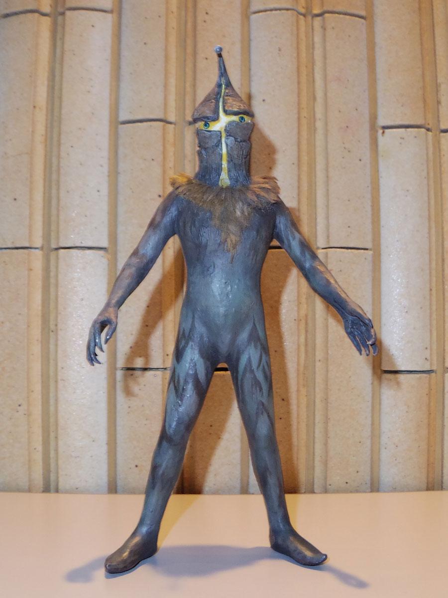 画家・高山良策が制作した原型を元にする怪獣人形「アムール人」のイメージ