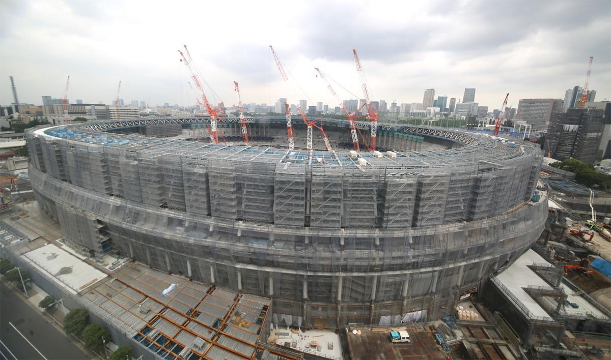 工事が進む新国立競技場(西側、画像=JSC提供)