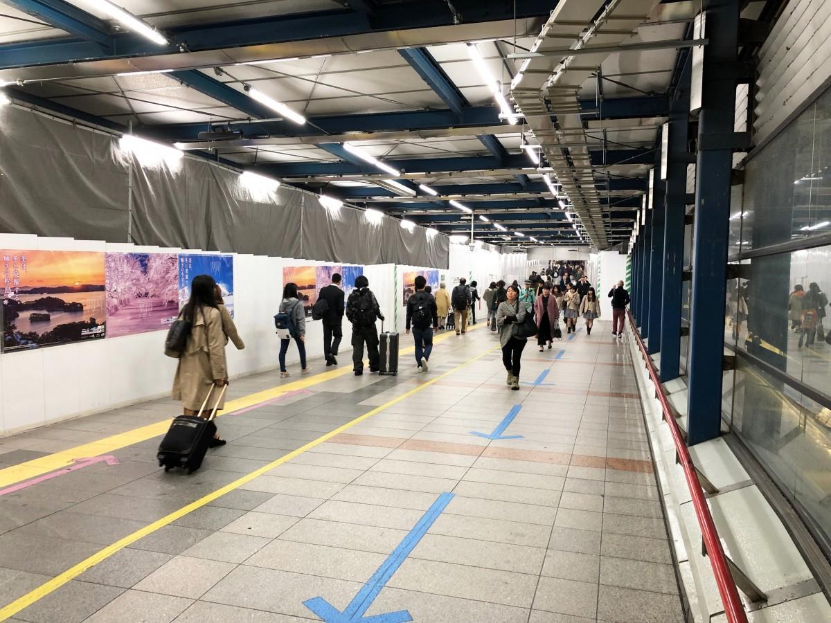 廃止されるJR渋谷駅・中央改札と新南口方面をつなぐ連絡通路