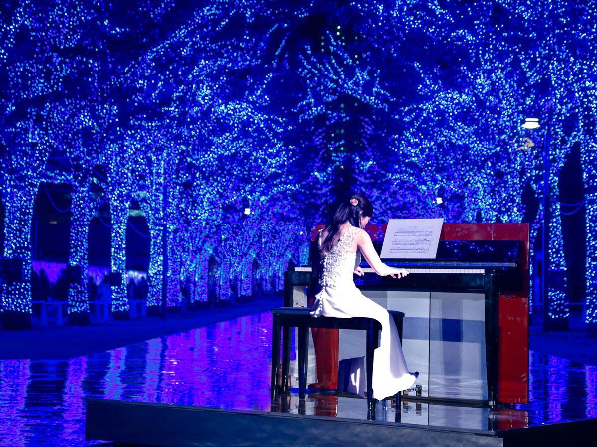 青色のイルミネーションが点灯する中でピアノの生演奏を行う(写真はイメージ)