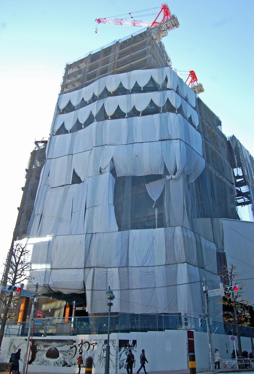 建て替え工事が進む「渋谷パルコ」外観(2019年1月)