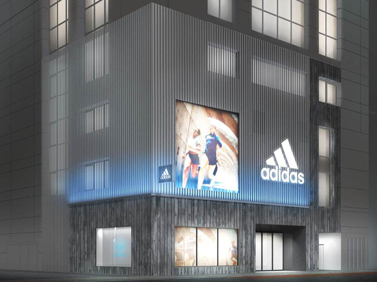 7色に光るLEDライトやスクリーンを配置する店舗外観イメージ