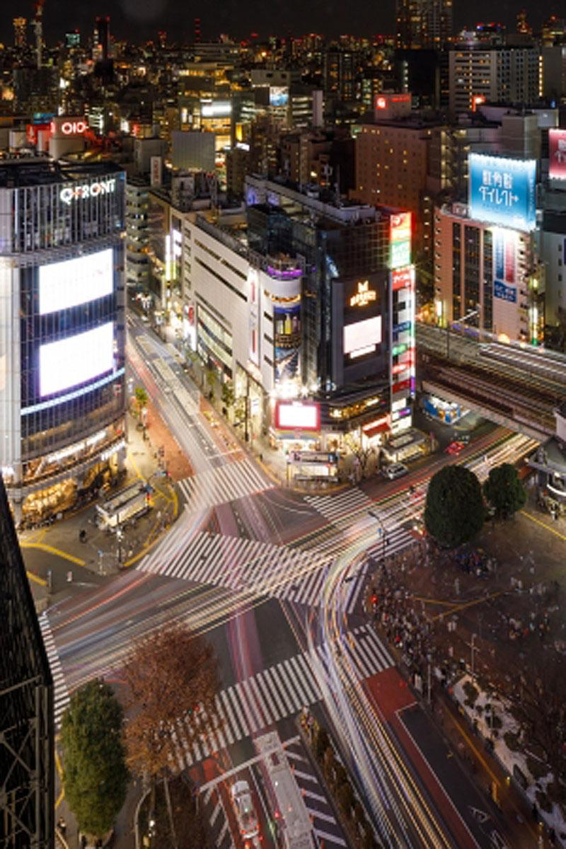 渋谷エクセルホテル東急から見たスクランブル交差点の様子