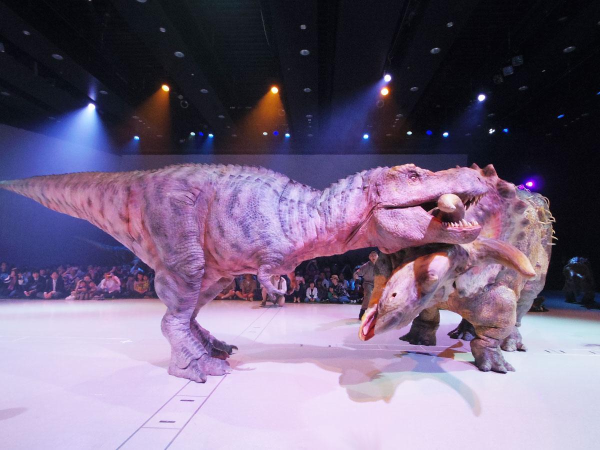 迫力あるティラノサウルスとトリケラトプの戦い