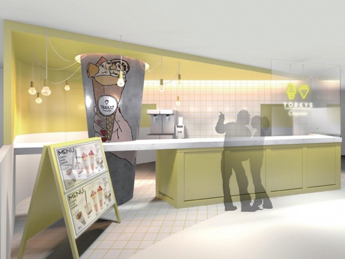 クレープのオブジェが目を引く店舗イメージ