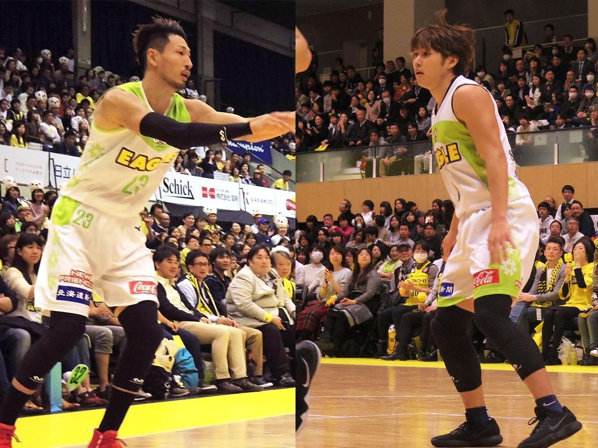 レバンガ北海道から移籍する(左から)野口大介選手と関野剛平選手