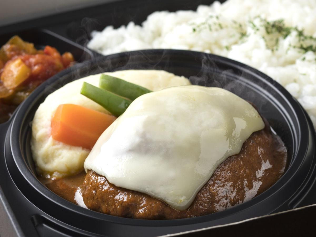 同店のために開発した新商品「煮込みチーズハンバーグ弁当」(2,400円)