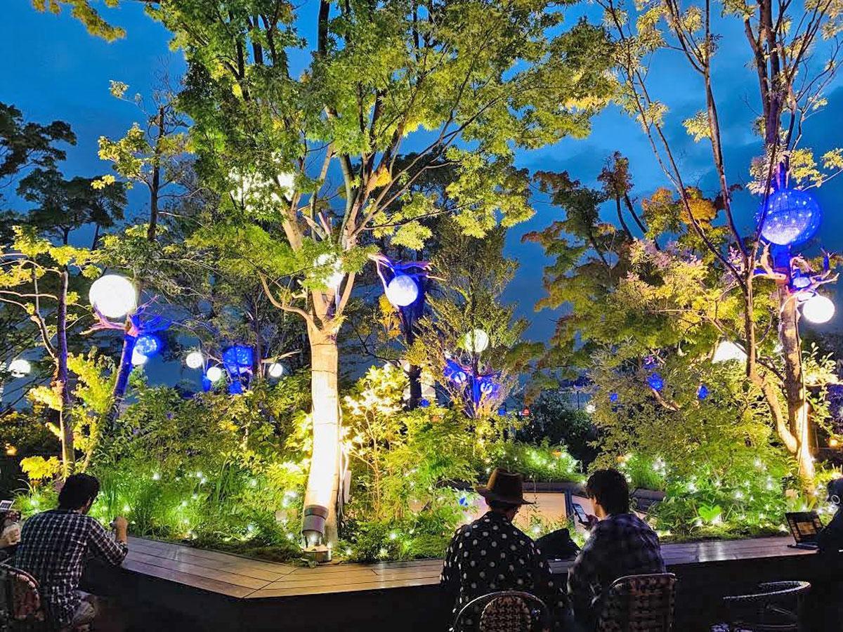 イルミネーションが点灯する屋上テラス「おもはらの森」