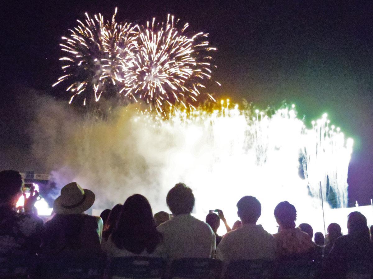 色とりどりの花火に来場客は歓声を上げた