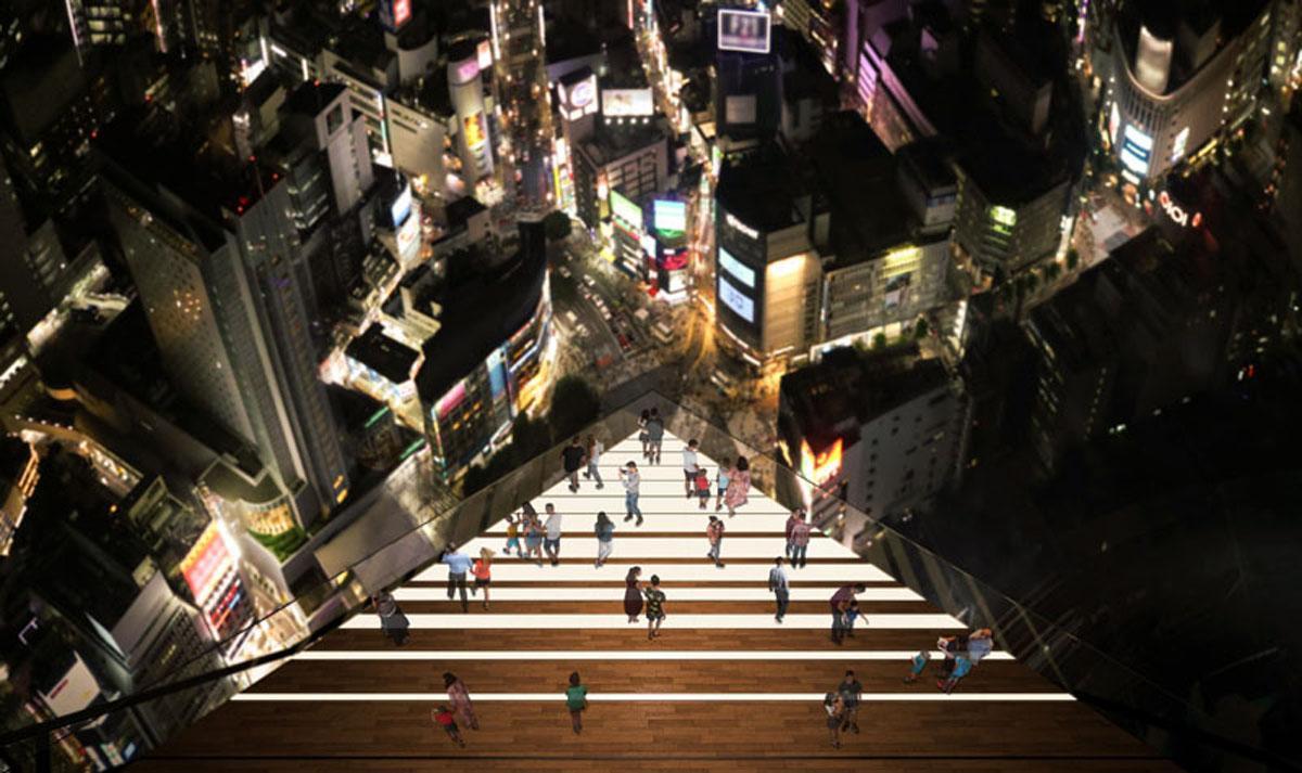 スクランブル交差点を47階屋上から直下に見下ろせる絶景スポット「SKY EDGE」(画像提供=渋谷スクランブルスクエア)