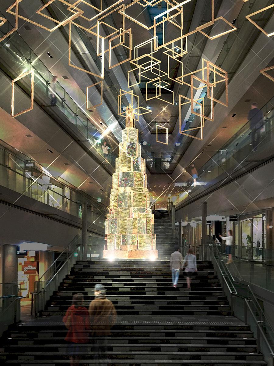 水を取り入れた演出をするクリスマスツリーのイメージ