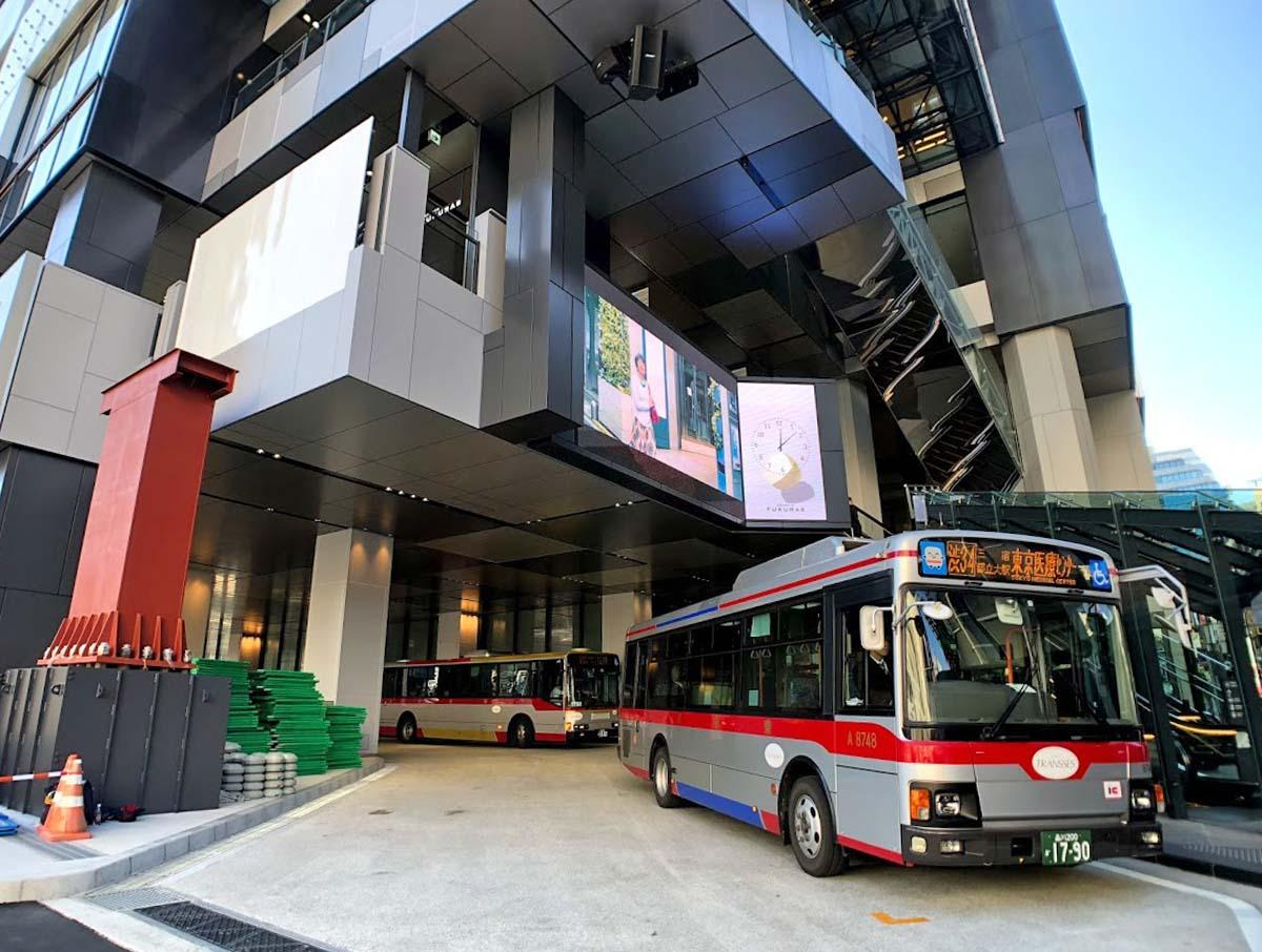 渋谷フクラス内に変更になった東急バスの一部のバス乗り場