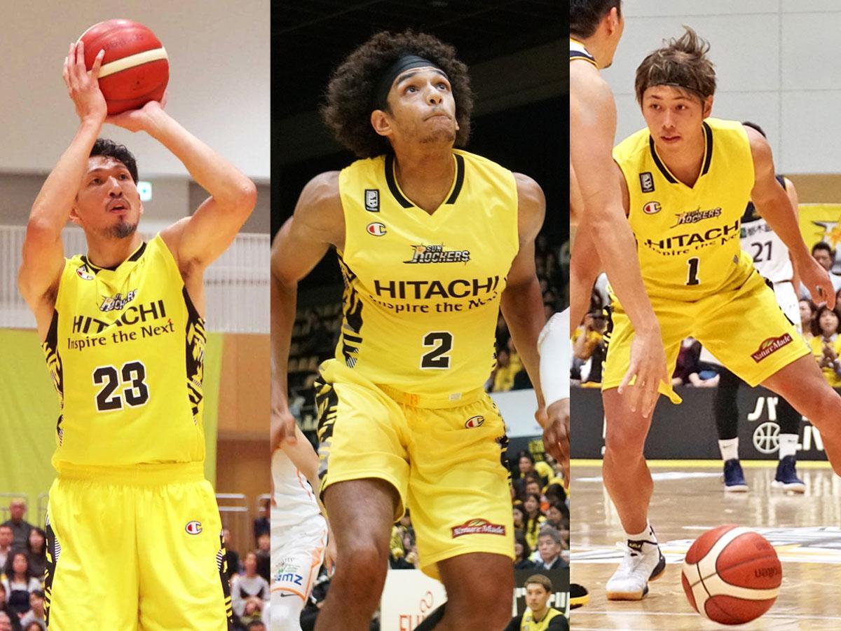 (左から)サンロッカーズ渋谷の野口大介選手、セバスチャン・サイズ選手、関野剛平選手
