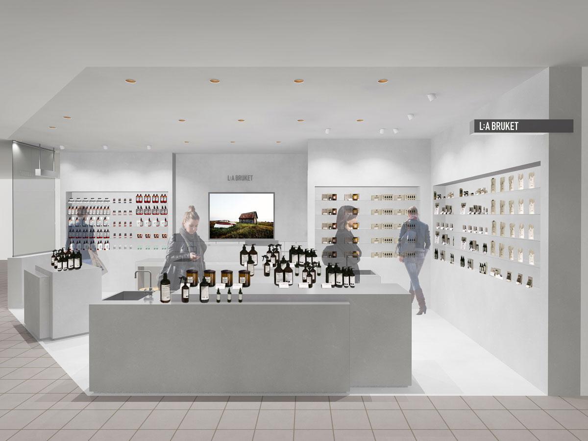 モルタルやステンレスを使ったデザインに仕上げる店舗イメージ