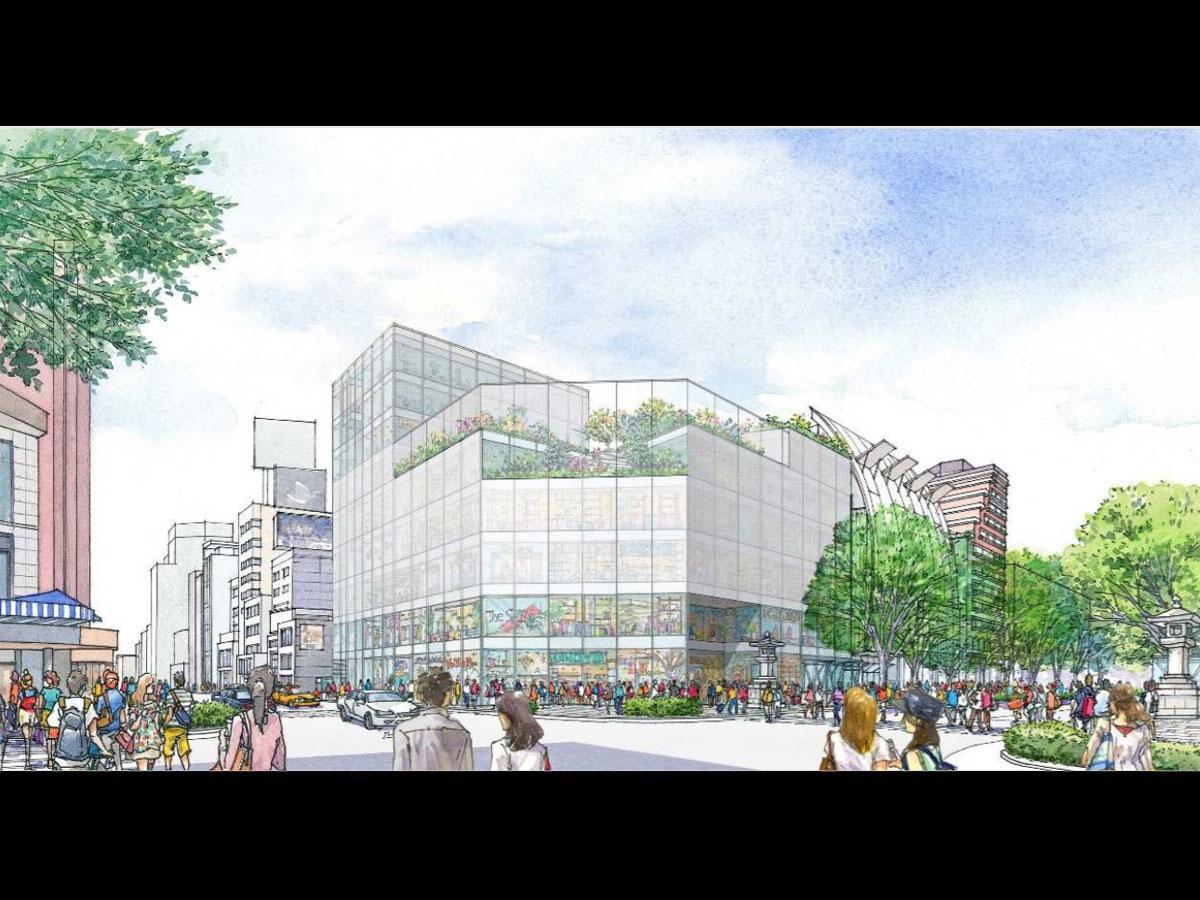 新たに建設するビルの外観イメージ(東=東急プラザ表参道原宿側から望む)