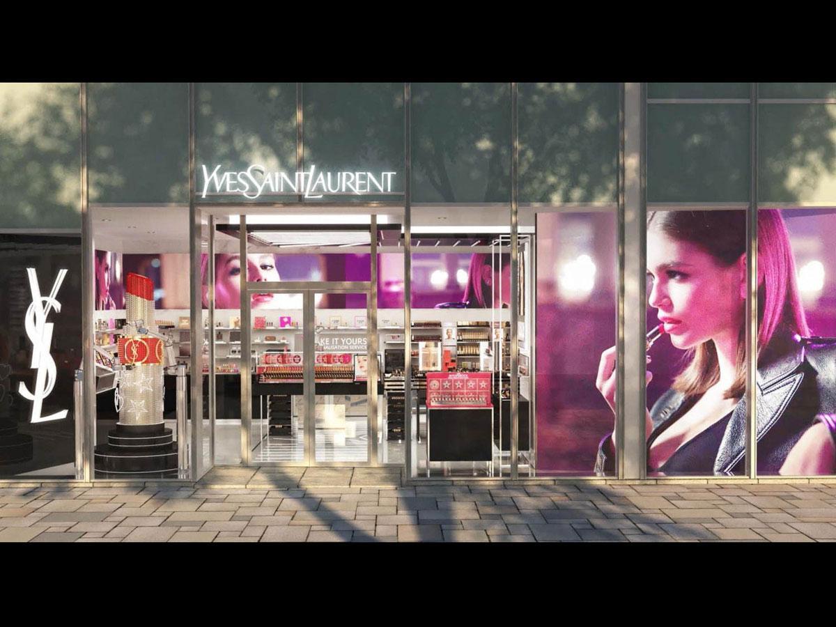 西館1階にオープンする「イヴ・サンローラン・ボーテ」旗艦店の外観イメージ
