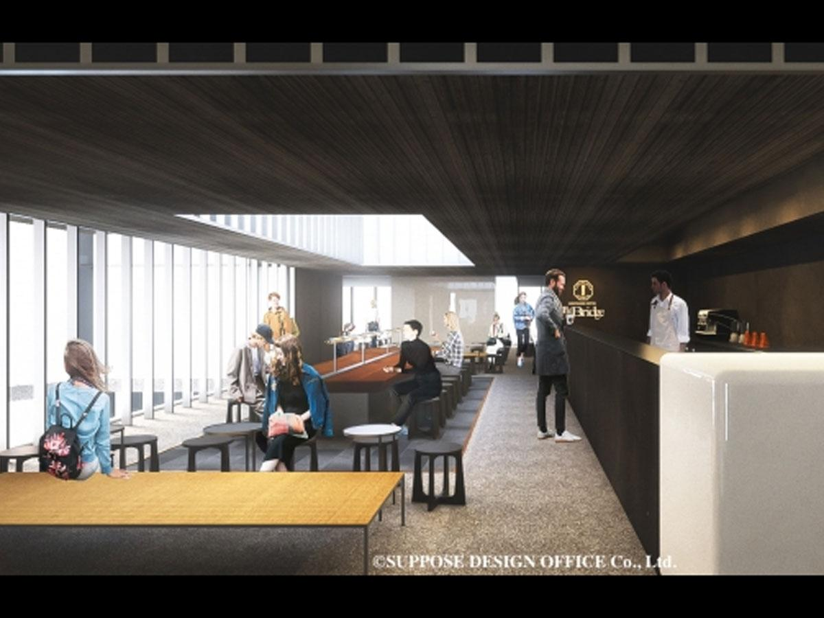 新しいJR原宿駅の2階に出店する「猿田彦珈琲The Bridge」のイメージ