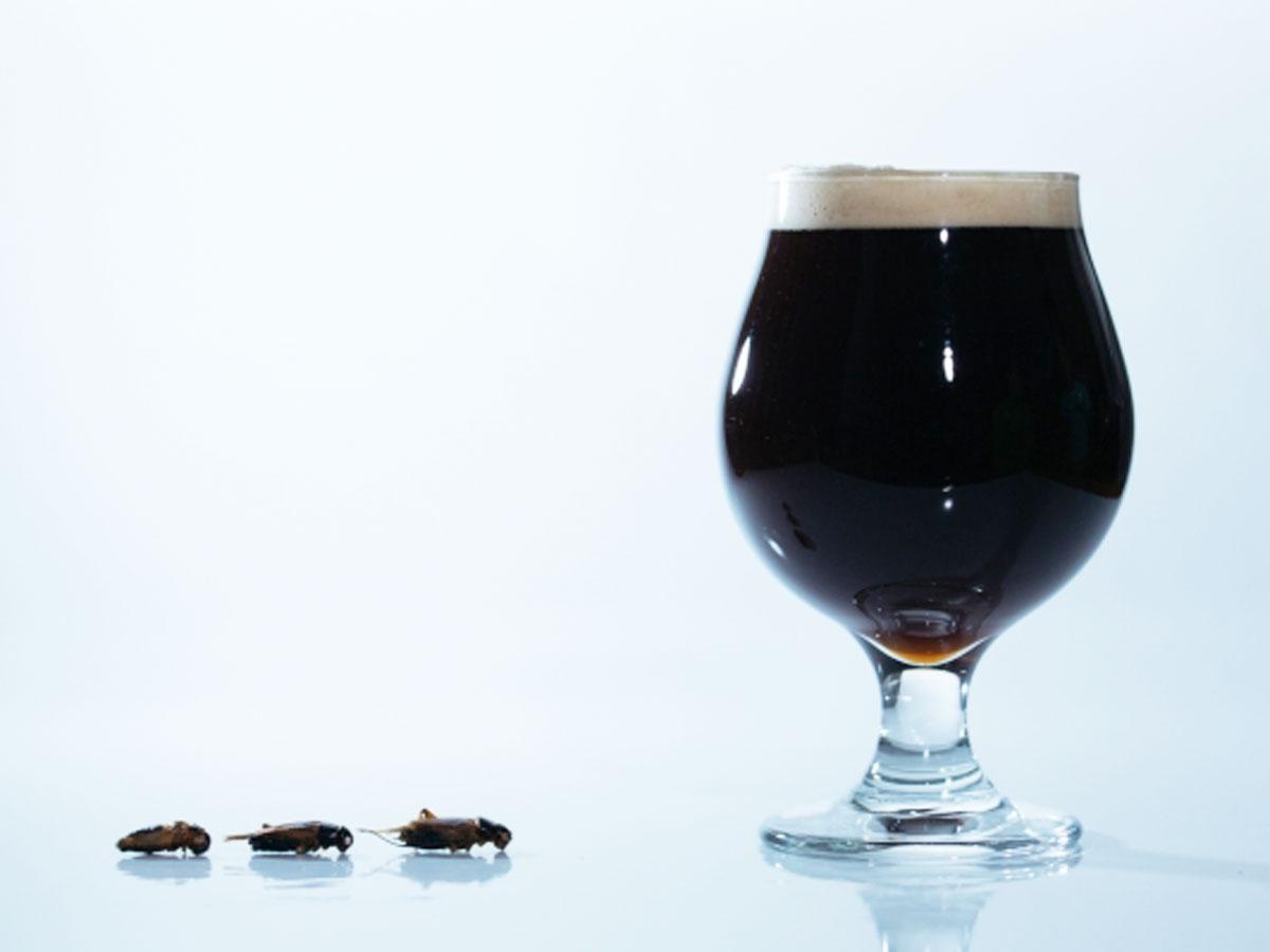 焙煎したコオロギを使う「コオロギビール」のイメージ
