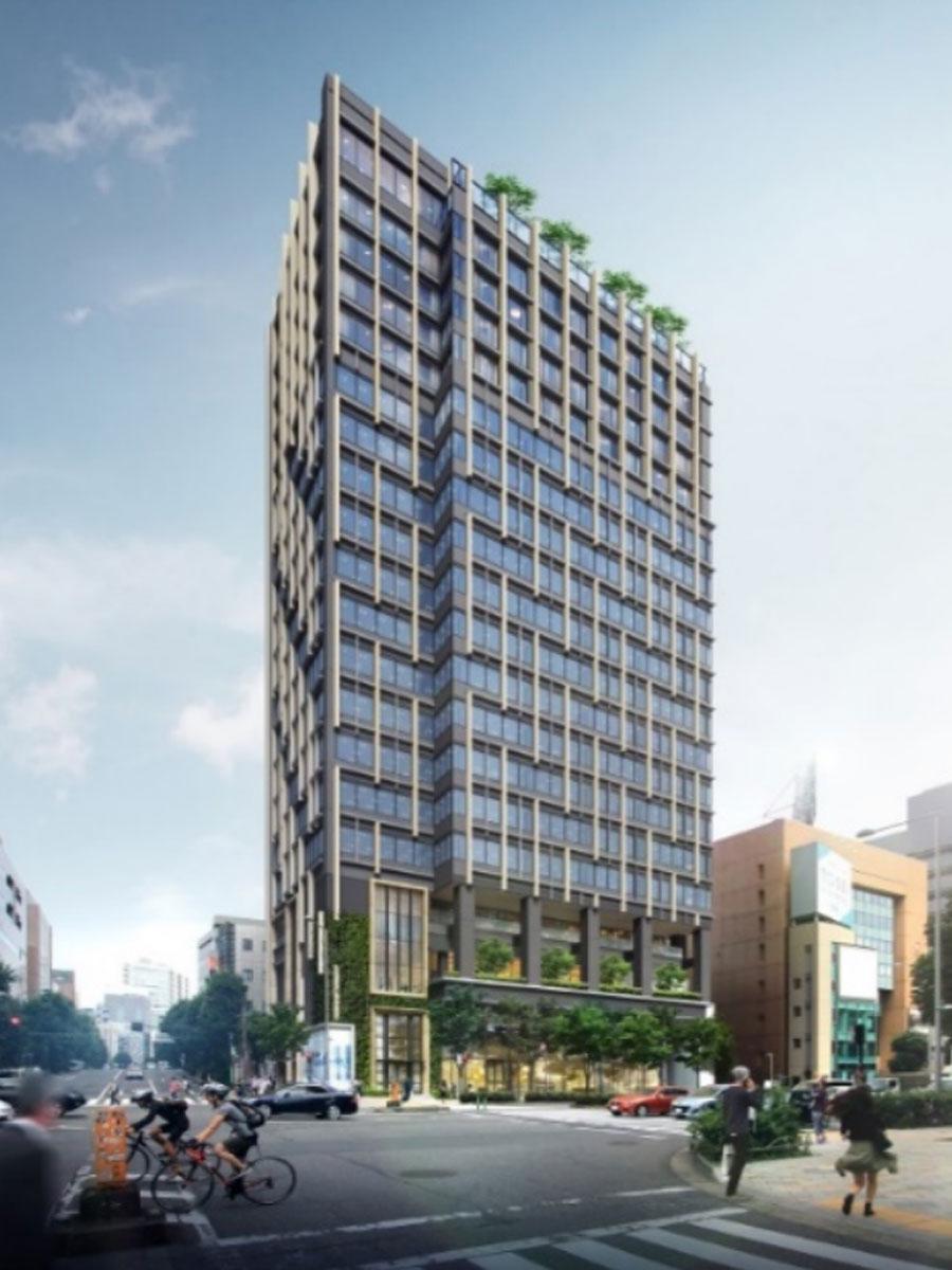 青山ベルコモンズ跡に開業予定の複合ビル「the ARGYLE aoyama」の外観イメージ