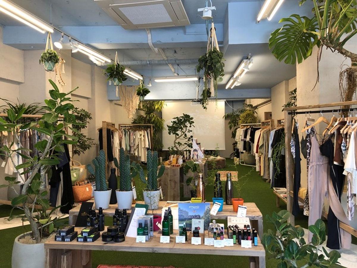 緑を装飾した店内にエシカルなアイテムを展開する店内