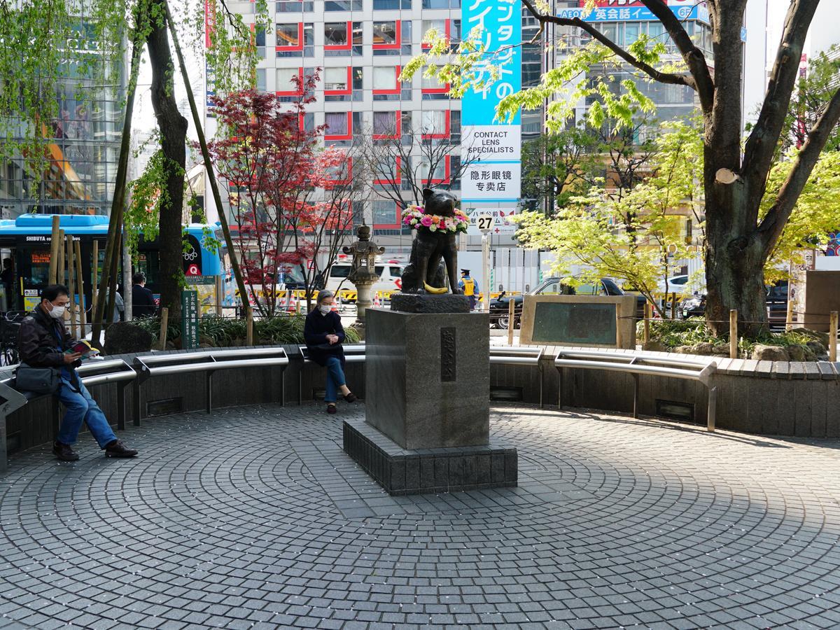 4月8日に記念日を迎えた「忠犬ハチ公像」。首には献花の花輪が掛けられている(8日14時30分頃撮影)