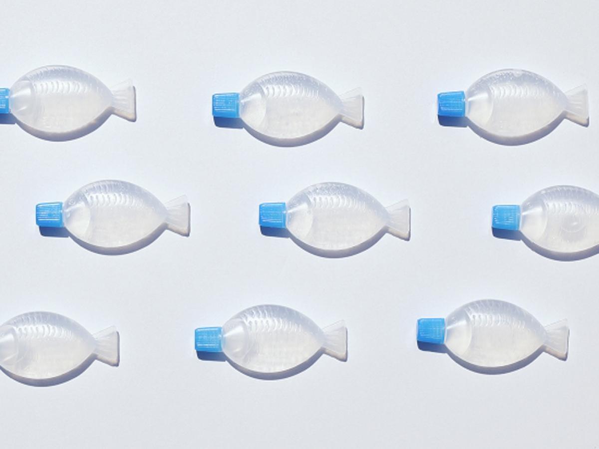 魚形の調味料容器を除菌抗菌液容器に。ふたは青色にして提供する