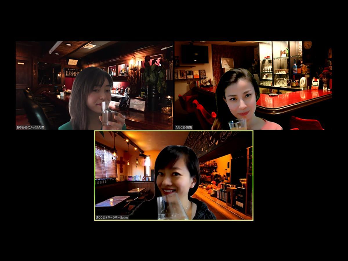 バーの画像を使ったイメージ(左上から時計回りに界外さん、北本さん、岡本さん)