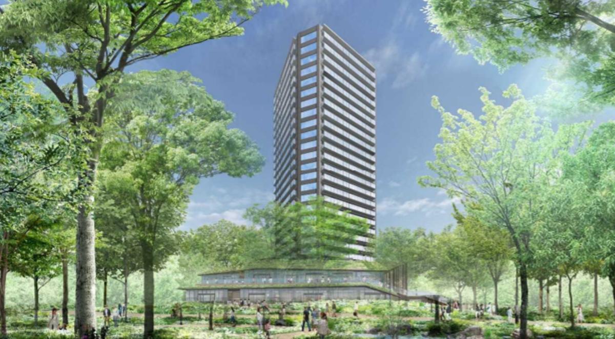 ショップやレストラン、高齢者向け住宅などで校正する高層ビルや緑地空間を整備する「ののあおやま」のイメージ