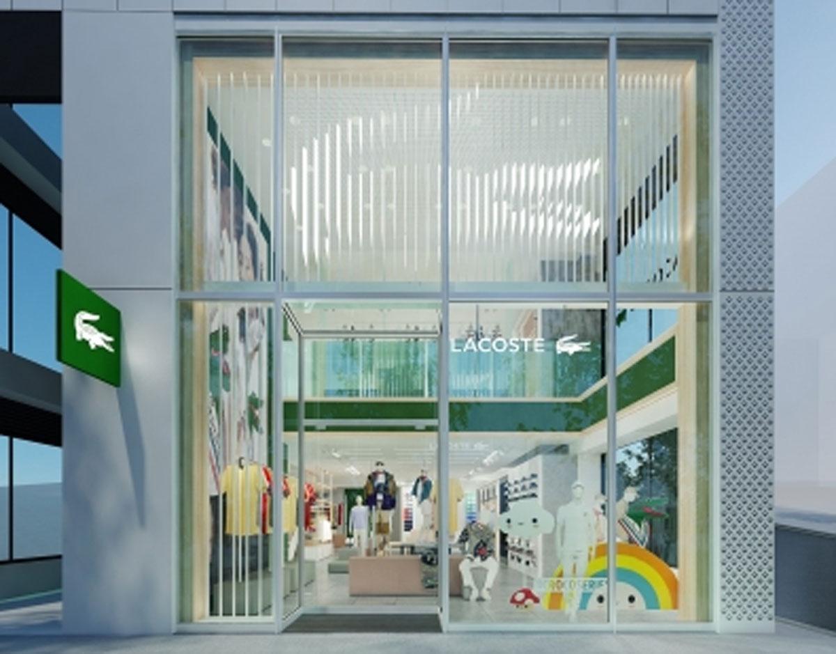 国内で初めて新ストアコンセプトを導入する「ラコステ渋谷店」外観イメージ