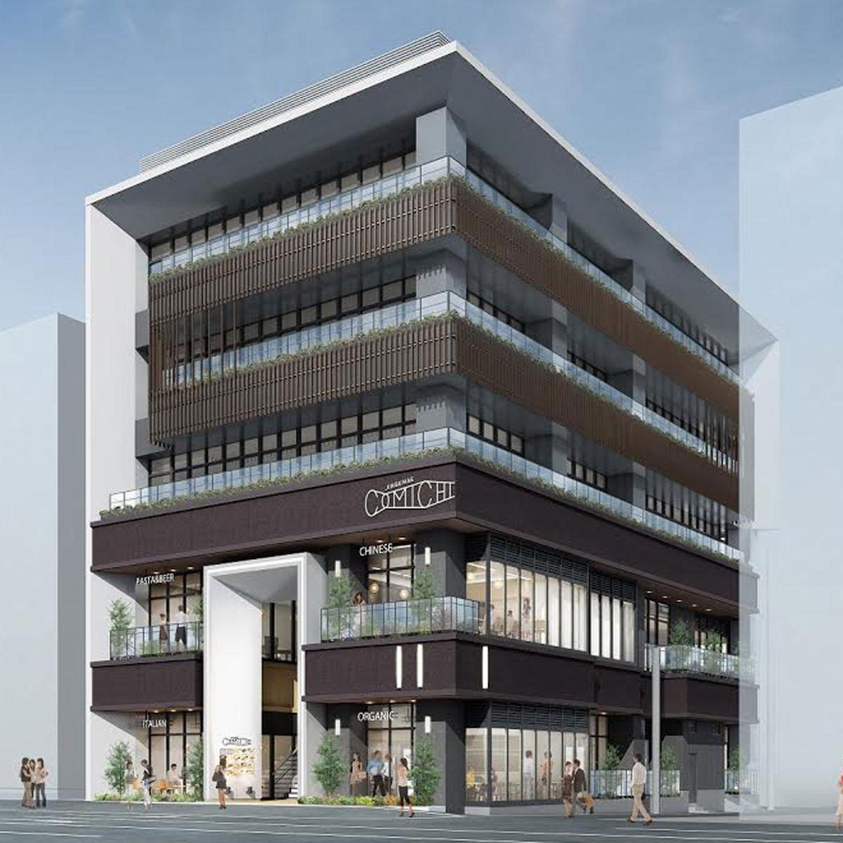 1階~2階に「JINGUMAE COMICHI」を展開する複合施設の外観イメージ